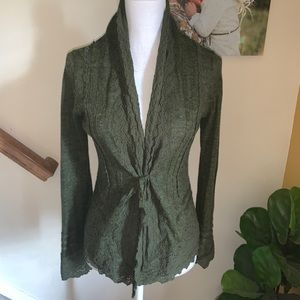 Anthropologie Sparrow green lace wool sweater M